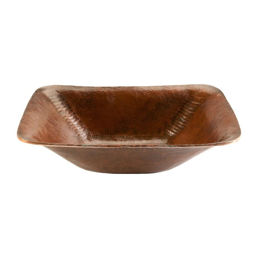 Premier Copper Products Oil-Rubbed Bronze Copper Vessel Square Bathroom Sink