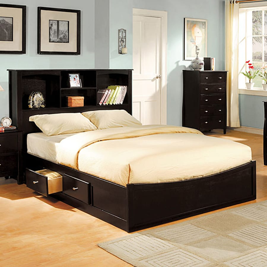 Furniture Of America Brooklyn Espresso Queen Platform Bed With Storage
