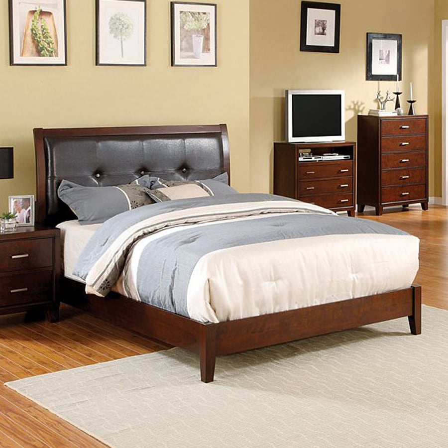 Furniture of America Enrico Brown Cherry Platform Bed with Storage