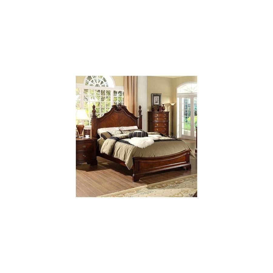 Beau Furniture Of America Carlsbad Dark Cherry Queen Low Profile Bed