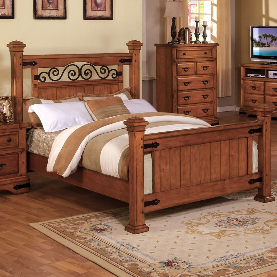 Shop Furniture Of America Sonoma American Oak California King 4 Poster Bed At