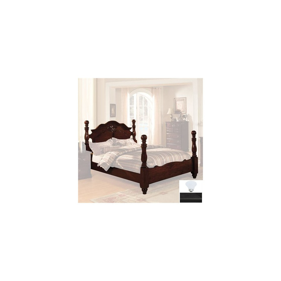 Shop Furniture of America Tuscan Dark Pine King Four Poster Bed at ...