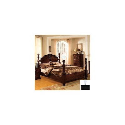 Tuscan Dark Pine Queen Four Poster Bed