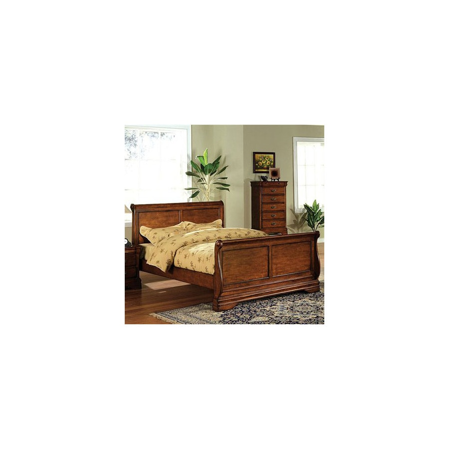 Furniture Of America Venice Dark Oak Queen Sleigh Bed In The Beds Department At Lowes Com