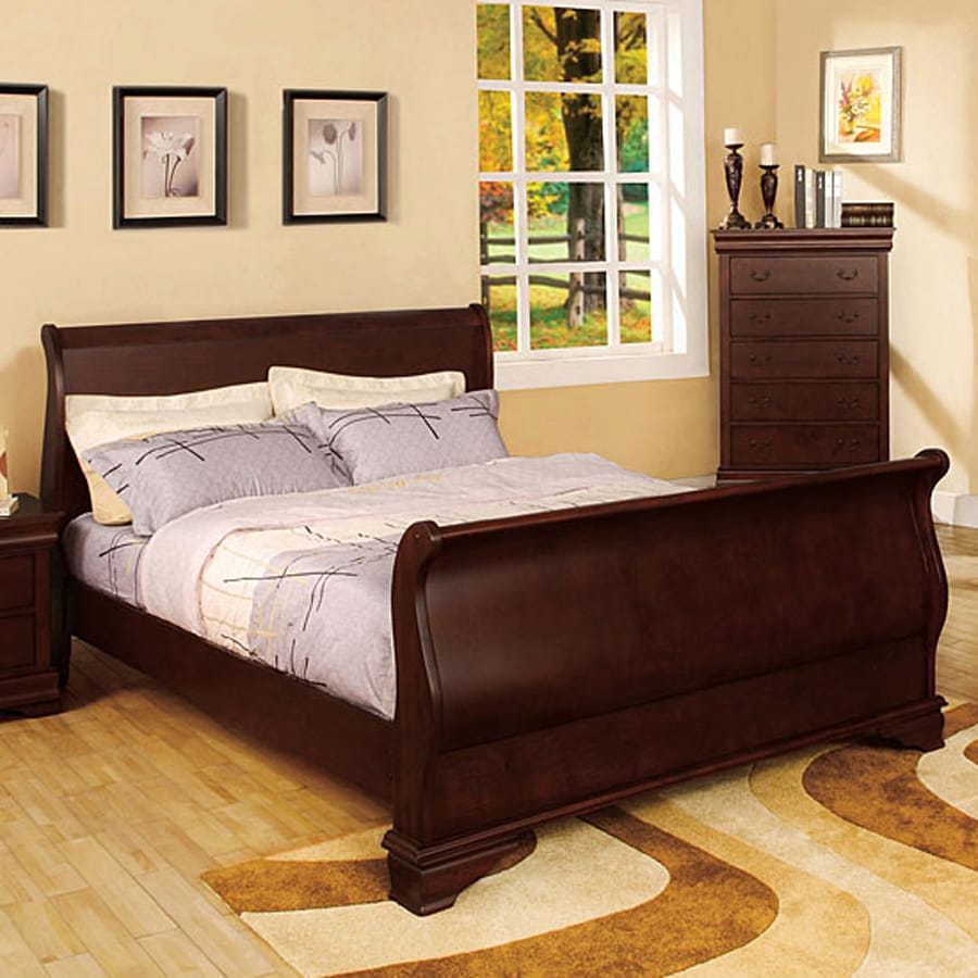 Shop furniture of america laurelle dark cherry sleigh bed for Furniture of america