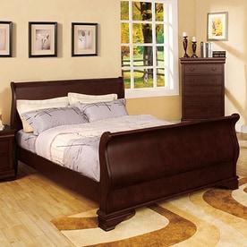 furniture of america laurelle dark cherry queen sleigh bed