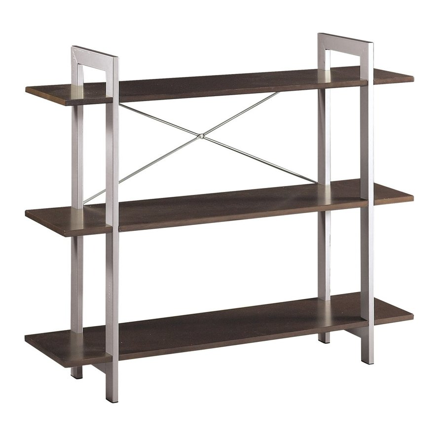 Office Star OSP Designs Espresso with Silver Accents 3-Shelf Bookcase