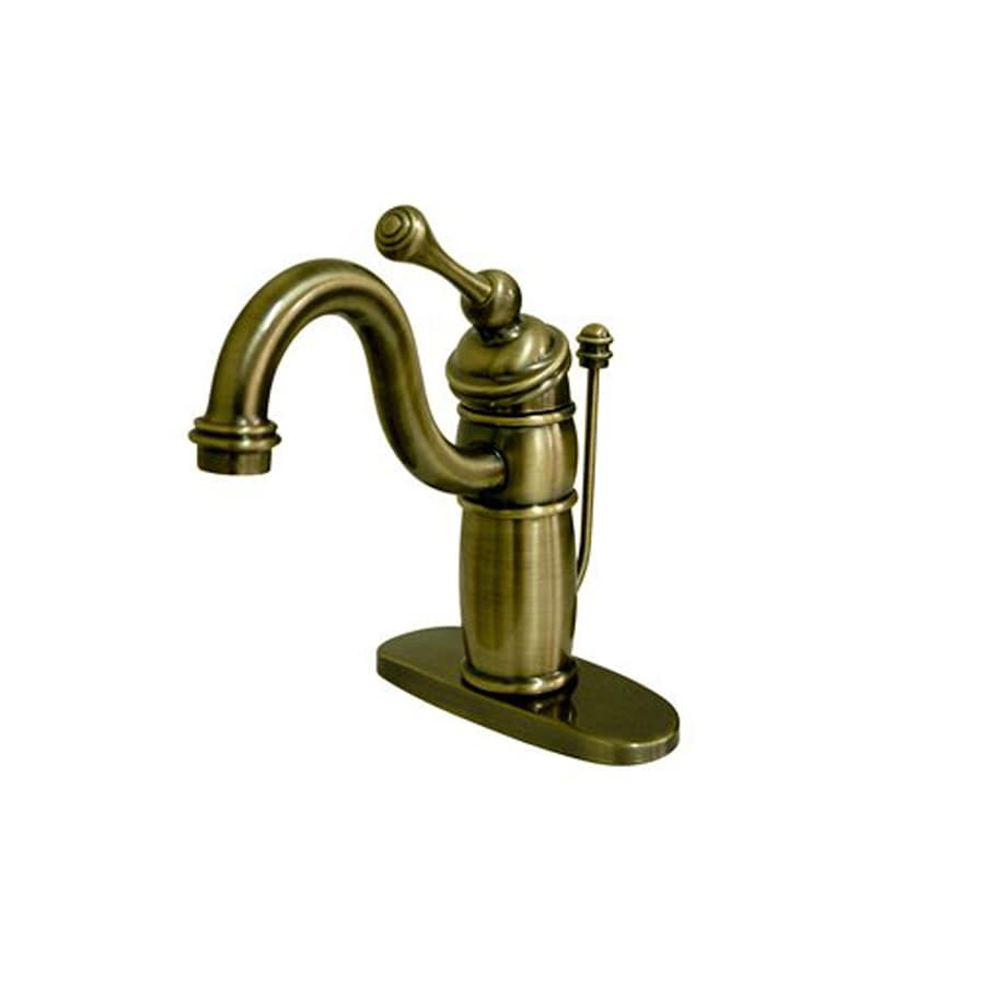 Elements of Design Hot Springs Vintage Brass 1-Handle 4-in Centerset Bathroom Faucet (Drain Included)