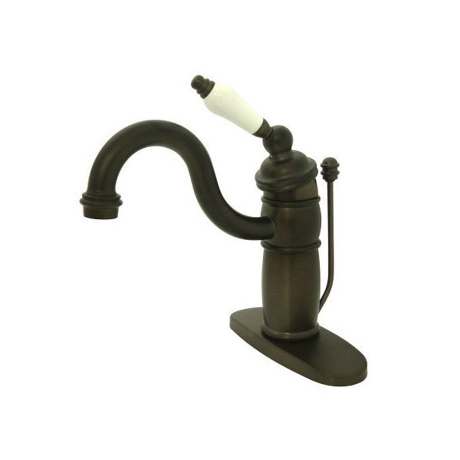 Elements of Design Hot Springs Oil-Rubbed Bronze 1-Handle 4-in Centerset Bathroom Faucet (Drain Included)