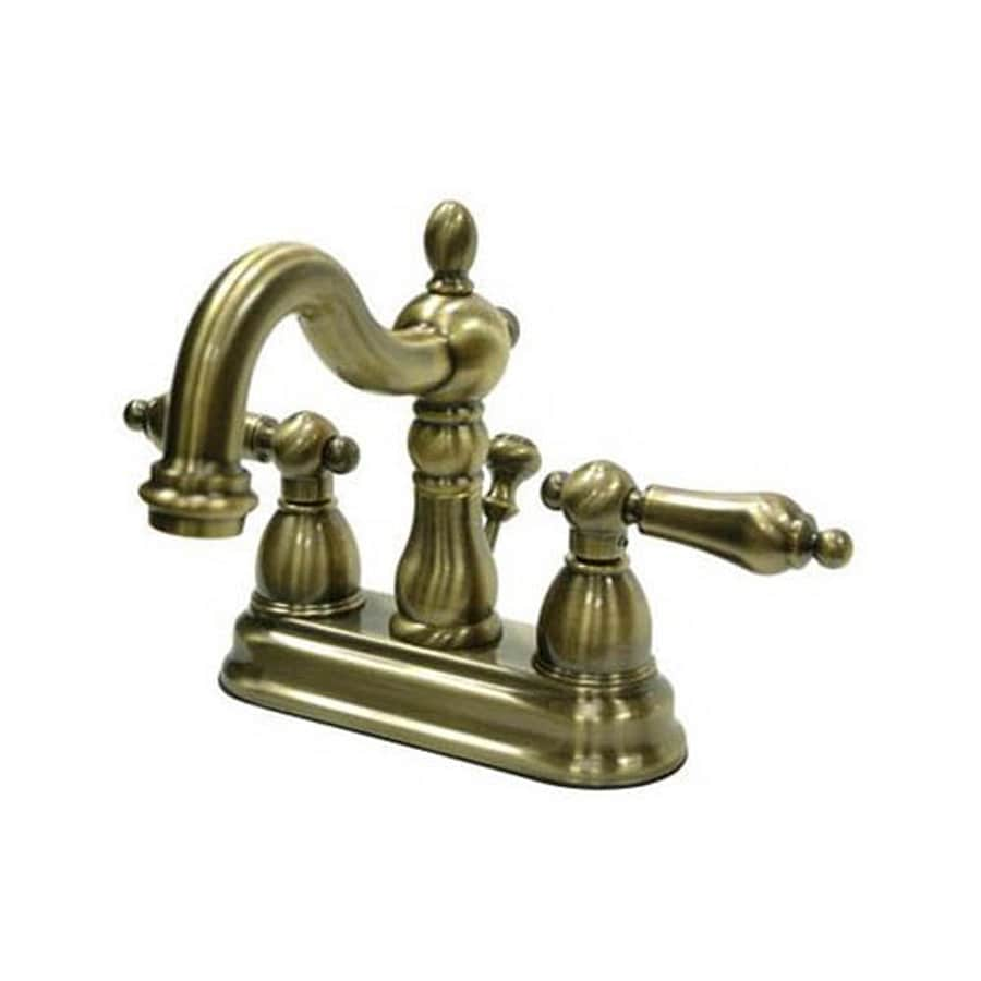 Elements of Design Heritage Vintage Brass 2-Handle 4-in Centerset Bathroom Faucet (Drain Included)