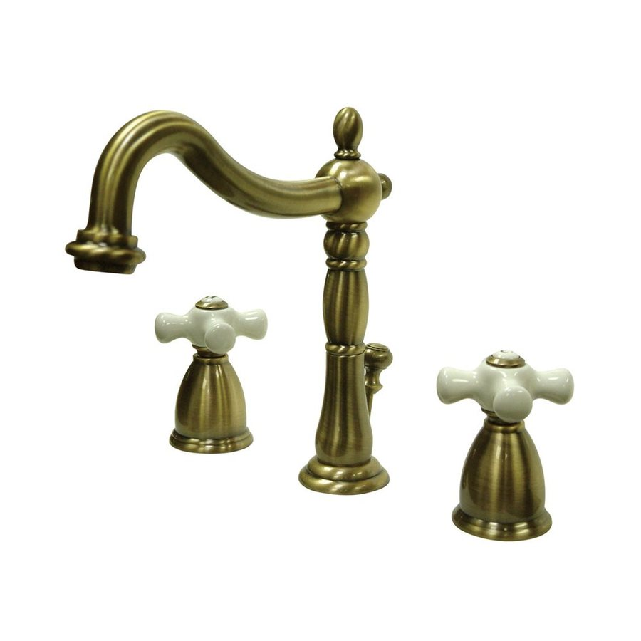 Elements of Design New Orleans Vintage Brass 2-Handle Widespread Bathroom Faucet (Drain Included)
