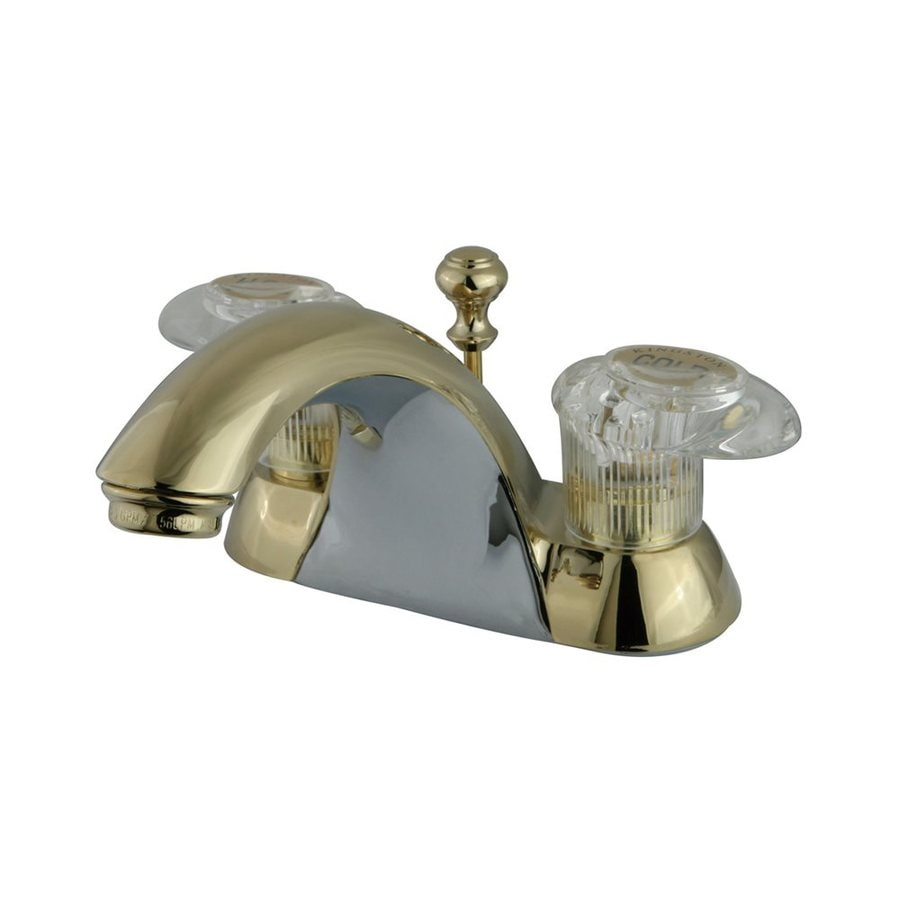 Elements of Design St. Charles Polished Brass 2-Handle 4-in Centerset Bathroom Faucet (Drain Included)