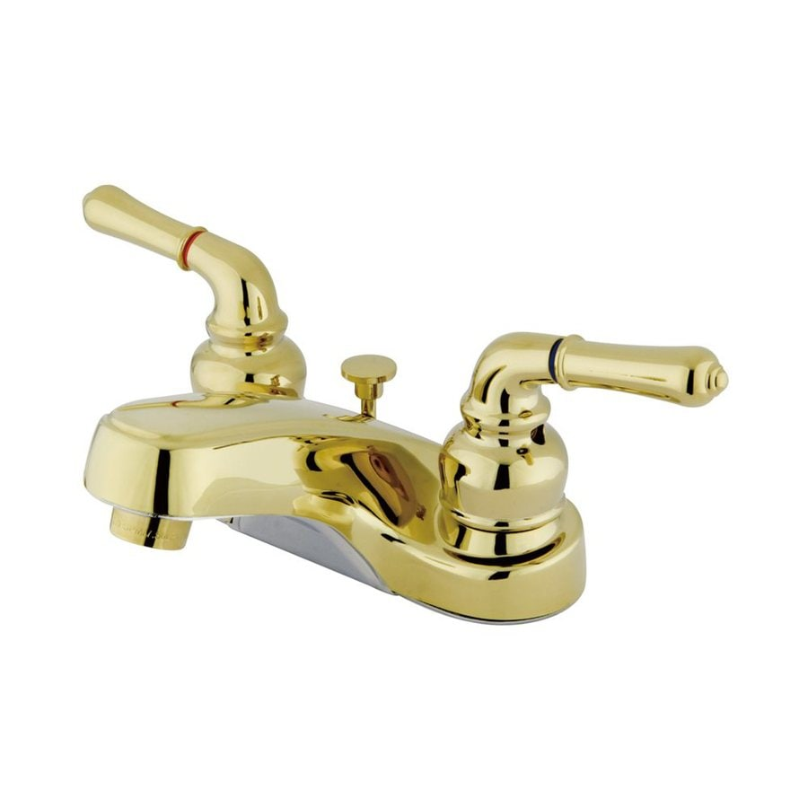 Elements of Design Magellan Polished Brass 2-Handle 4-in Centerset Bathroom Faucet (Drain Included)