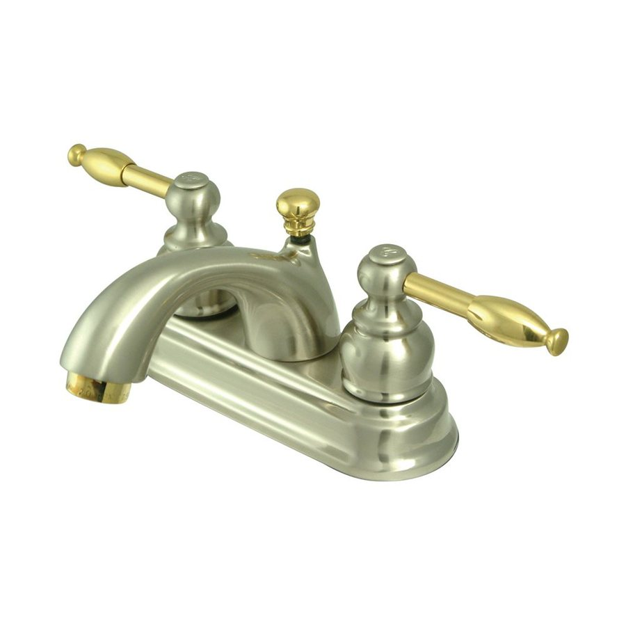 Elements of Design St. Regis Satin Nickel/Polished Brass 2-Handle 4-in Centerset Bathroom Faucet (Drain Included)