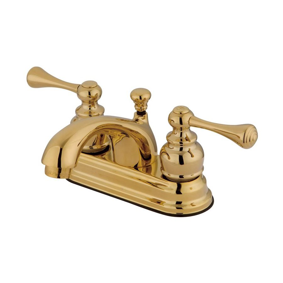 Elements of Design St. Louis Polished Brass 2-Handle 4-in Centerset Bathroom Faucet (Drain Included)