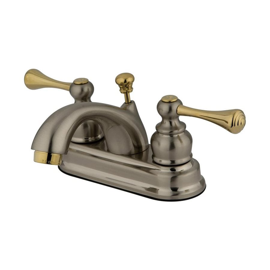 Elements of Design St. Louis Satin Nickel/Polished Brass 2-Handle 4-in Centerset Bathroom Faucet (Drain Included)