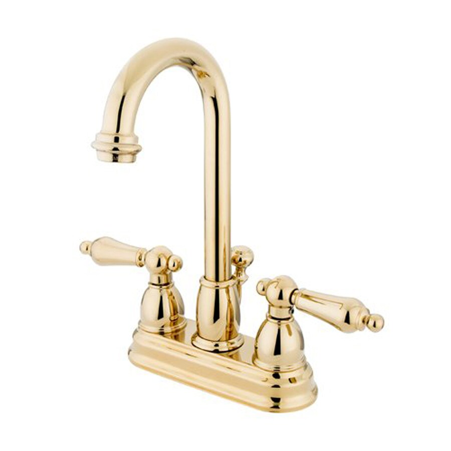 Elements of Design Chicago Polished Brass 2-Handle 4-in Centerset Bathroom Faucet (Drain Included)