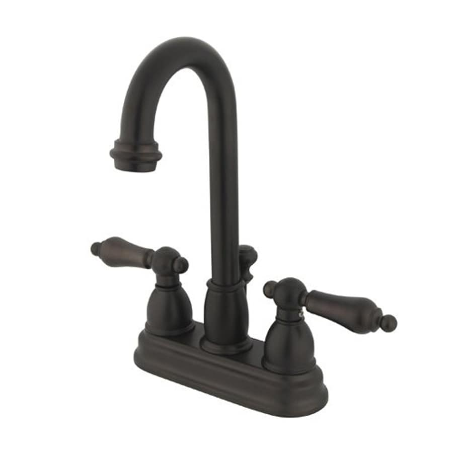 Elements of Design Chicago Oil-Rubbed Bronze 2-Handle 4-in Centerset Bathroom Faucet (Drain Included)