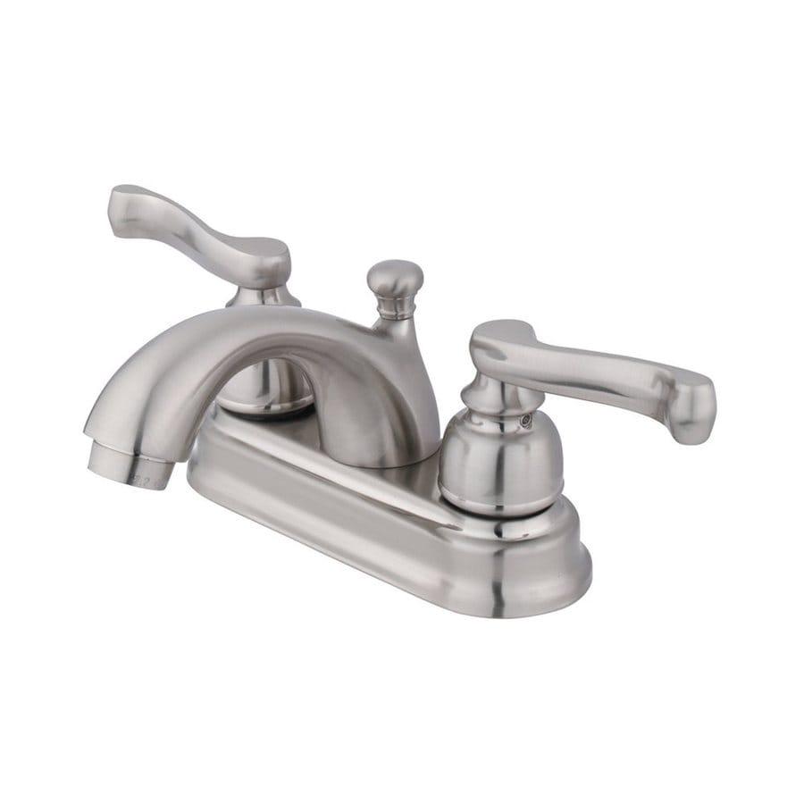 Elements of Design Atlanta Satin Nickel 2-Handle 4-in Centerset Bathroom Faucet (Drain Included)
