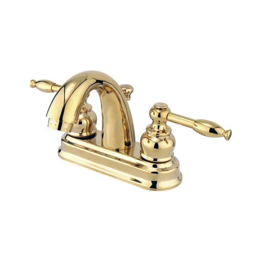 Elements of Design Denver Polished Brass 2-Handle 4-in Centerset Bathroom Faucet (Drain Included)