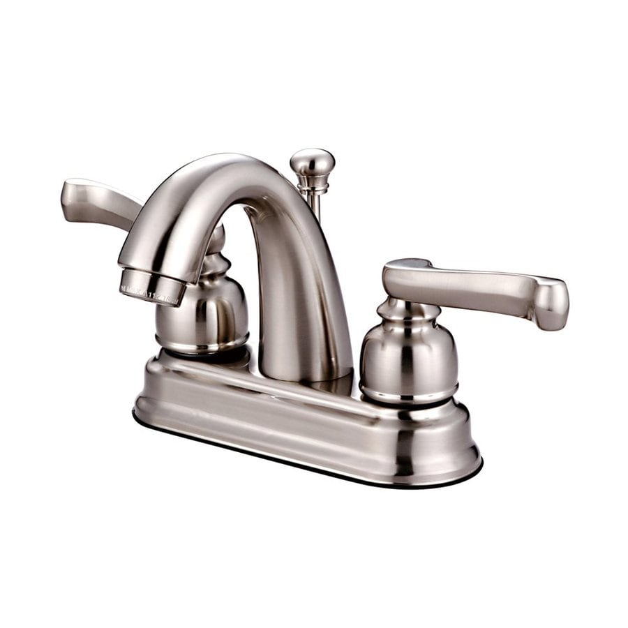 Elements of Design Atlanta Satin Nickel 2-Handle 4-in Centerset Bathroom Faucet (Drain Included)