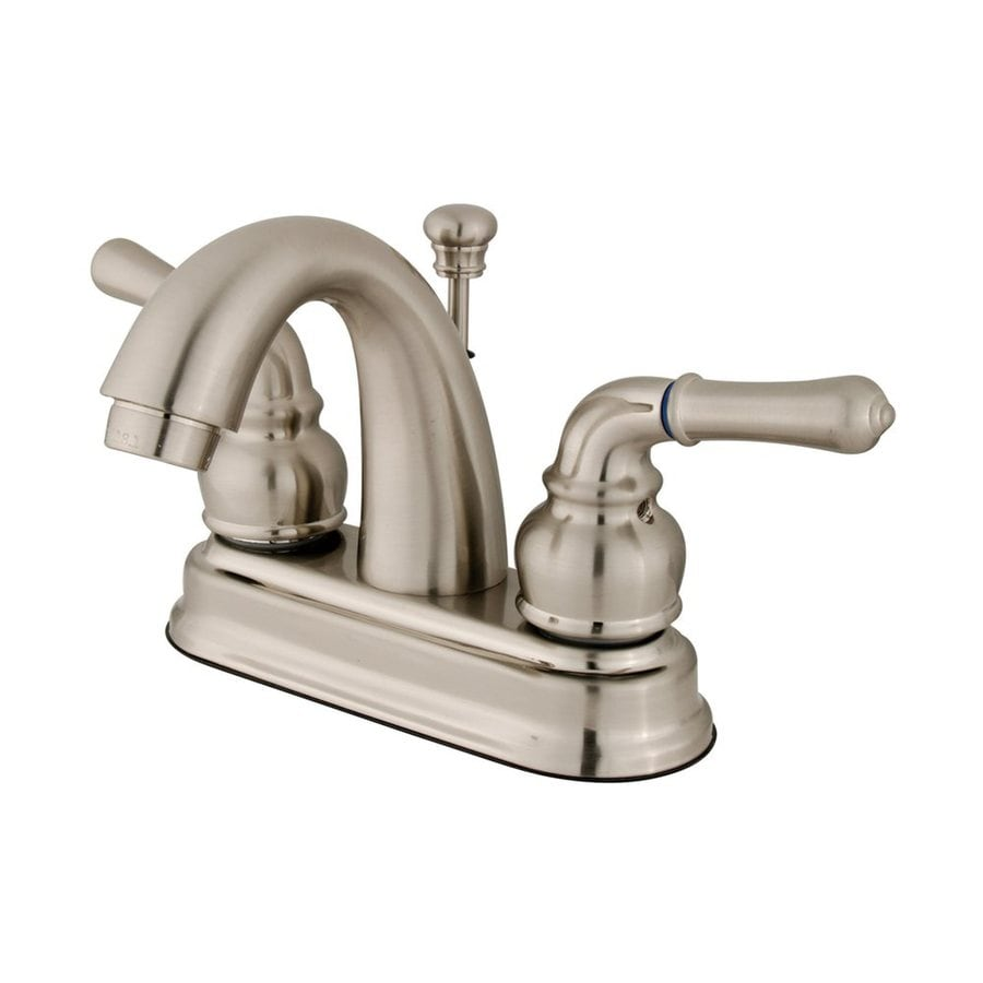 Elements of Design St. Charles Satin Nickel 2-Handle 4-in Centerset Bathroom Faucet (Drain Included)