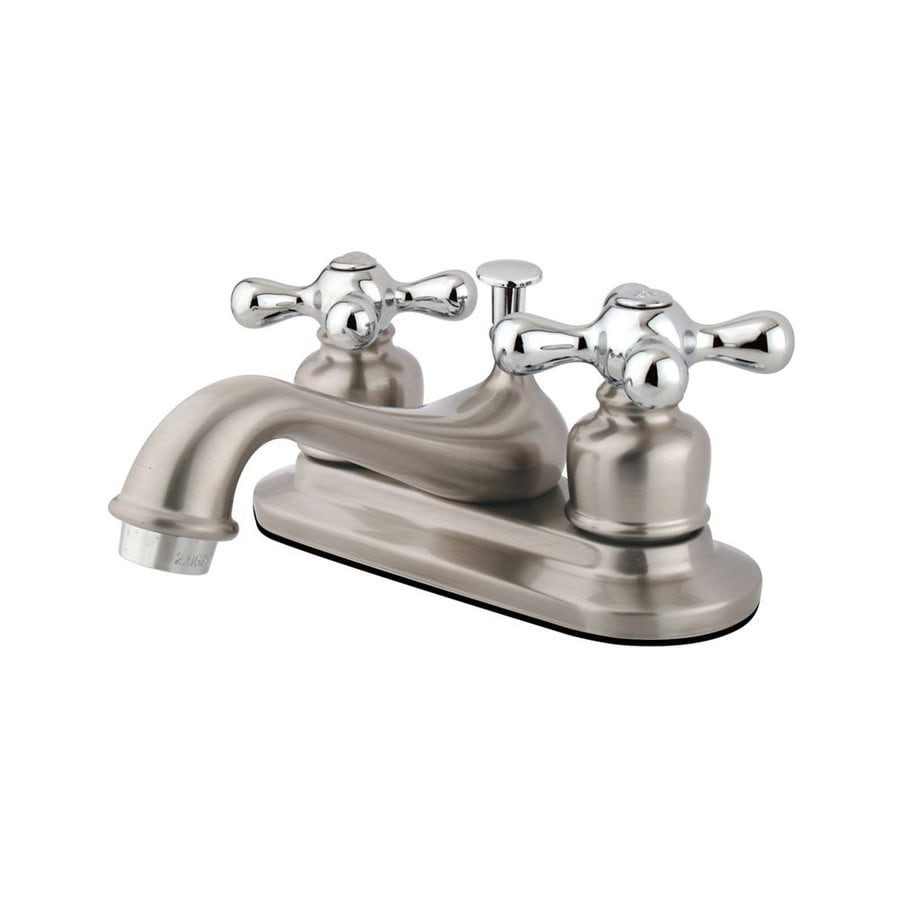 Elements of Design Elizabeth Satin Nickel/Polished Chrome 2-Handle 4-in Centerset Bathroom Faucet (Drain Included)