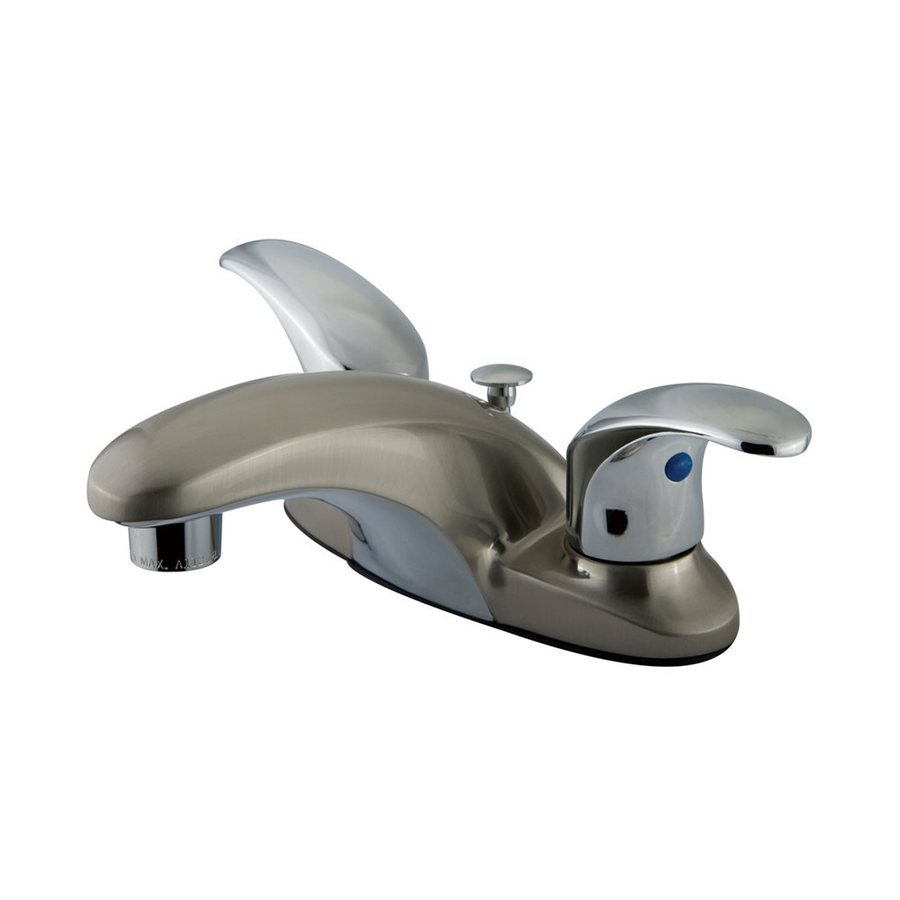 Elements of Design Daytona Satin Nickel/Polished Chrome 2-Handle 4-in Centerset Bathroom Faucet (Drain Included)