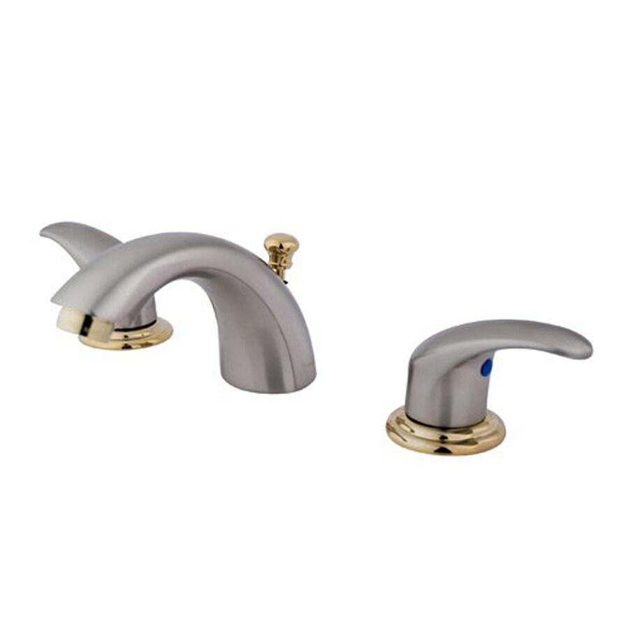 Elements of Design Daytona Satin Nickel/Polished Brass 2-Handle 4-in Mini Widespread Bathroom Faucet (Drain Included)