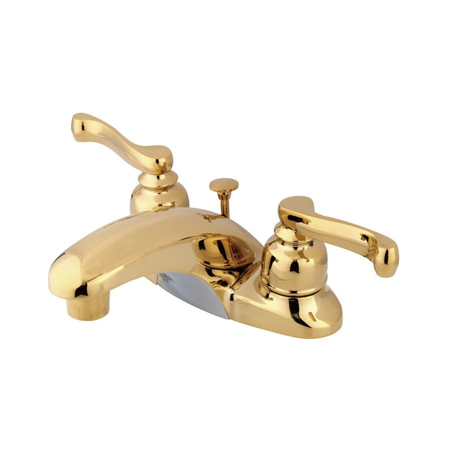 Elements of Design Royale Polished Brass 2-Handle 4-in Centerset Bathroom Faucet (Drain Included)