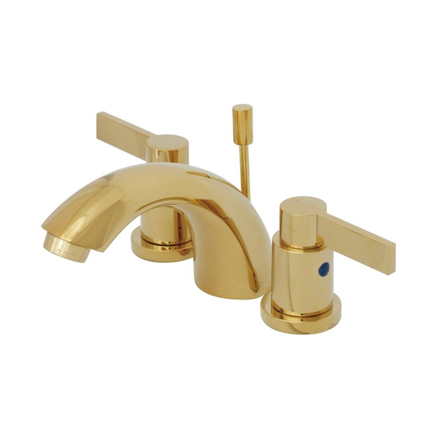 Shop Elements Of Design Nuvofusion Polished Brass 2 Handle 4 In Mini Widespread Bathroom Faucet