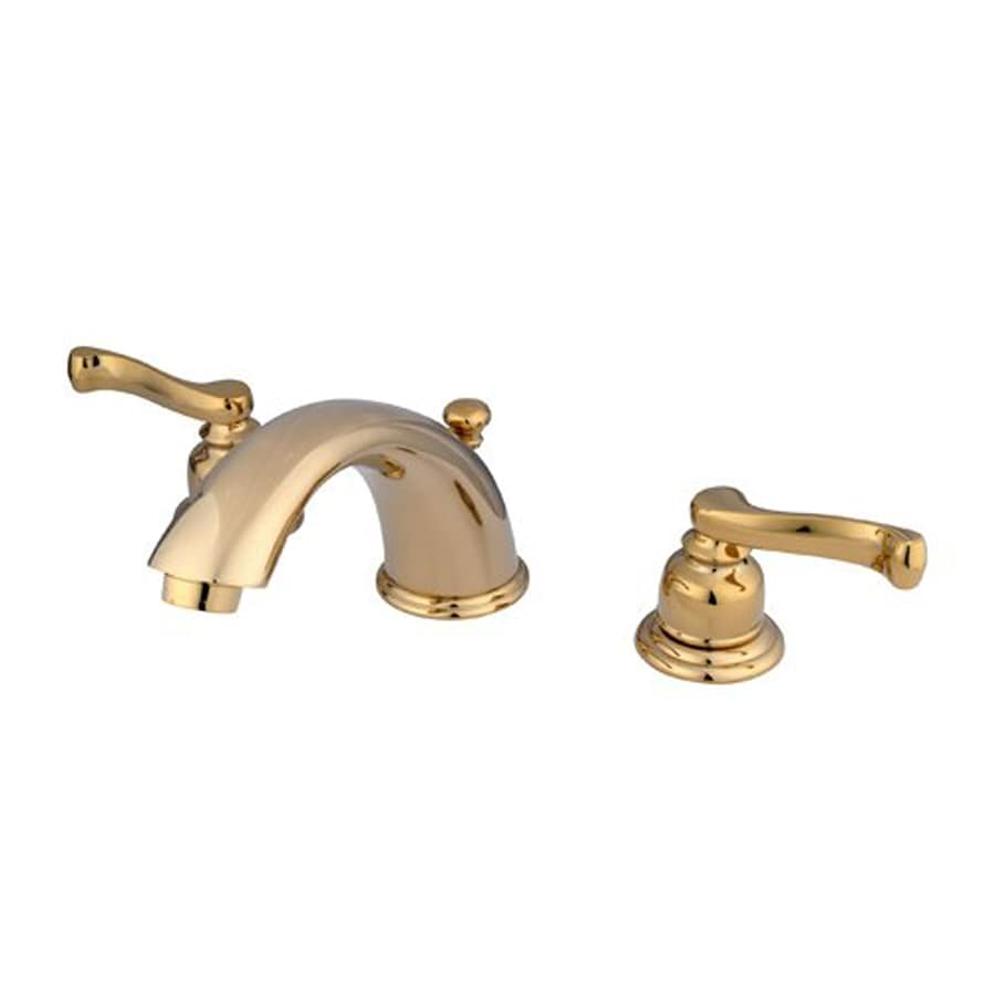 Elements of Design Polished Brass 2-Handle Widespread Bathroom Faucet (Drain Included)