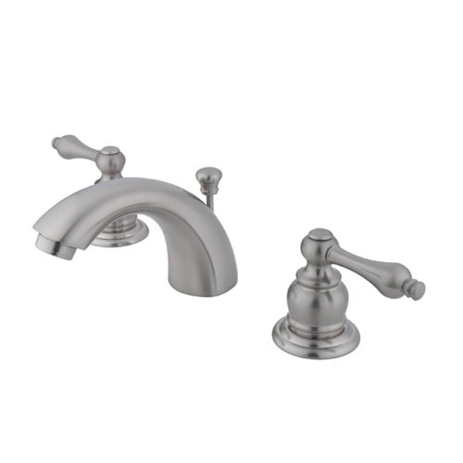 shop elements of design satin nickel 2 handle 4 in mini widespread bathroom faucet drain