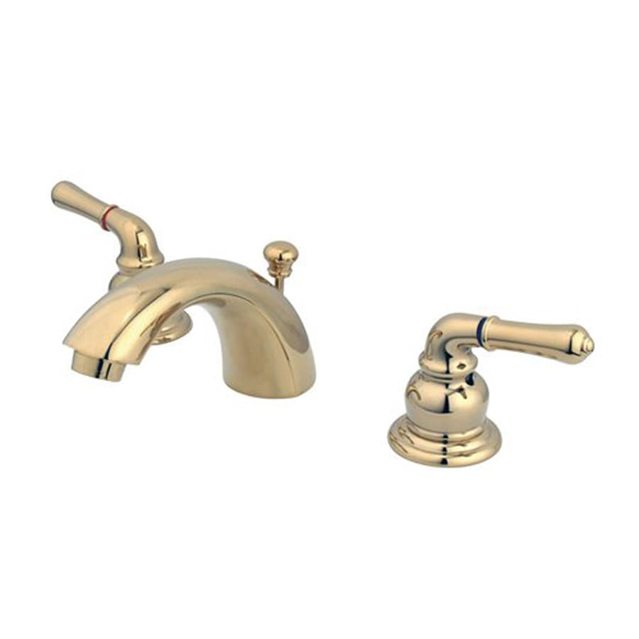 Elements of Design Polished Brass 2-Handle 4-in Mini Widespread Bathroom Faucet (Drain Included)