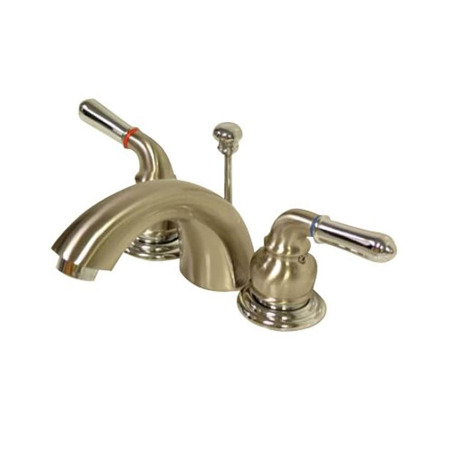 Shop Elements Of Design Satin Nickel Chrome 2 Handle 4 In Mini Widespread Bathroom Faucet Drain