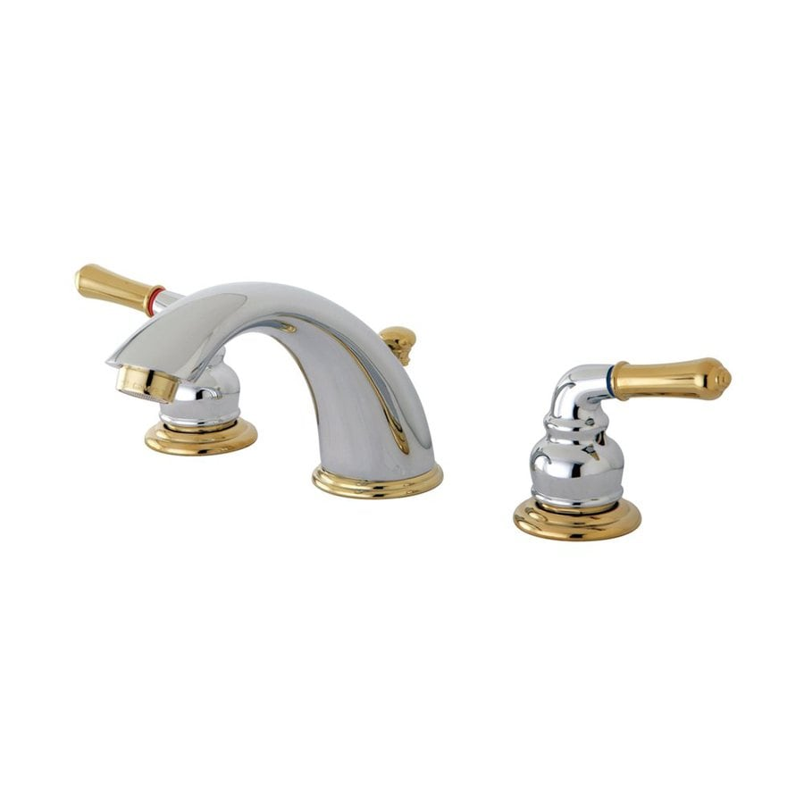 Elements of design chrome polished brass 2 handle widespread bathroom faucet