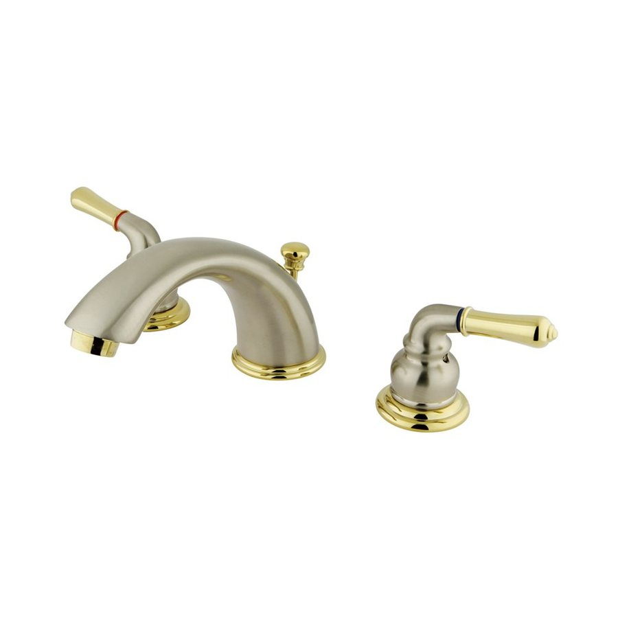 Elements of Design Satin Nickel/Polished Brass 2-Handle Widespread Bathroom Faucet