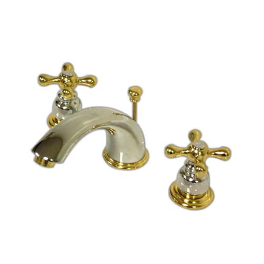 Elements Of Design Chrome Polished Brass 2 Handle Widespread Bathroom Faucet Drain Included At