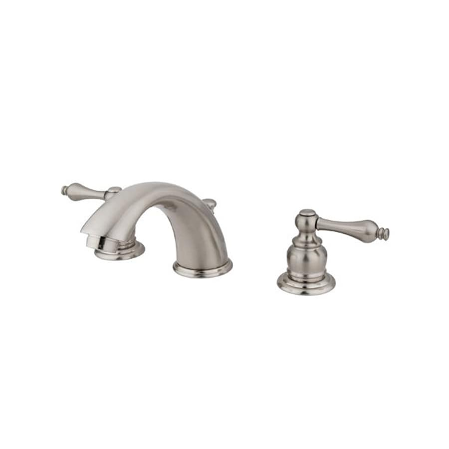 Elements of design satin nickel 2 handle widespread bathroom sink faucet with drain at for Satin nickel widespread bathroom faucet