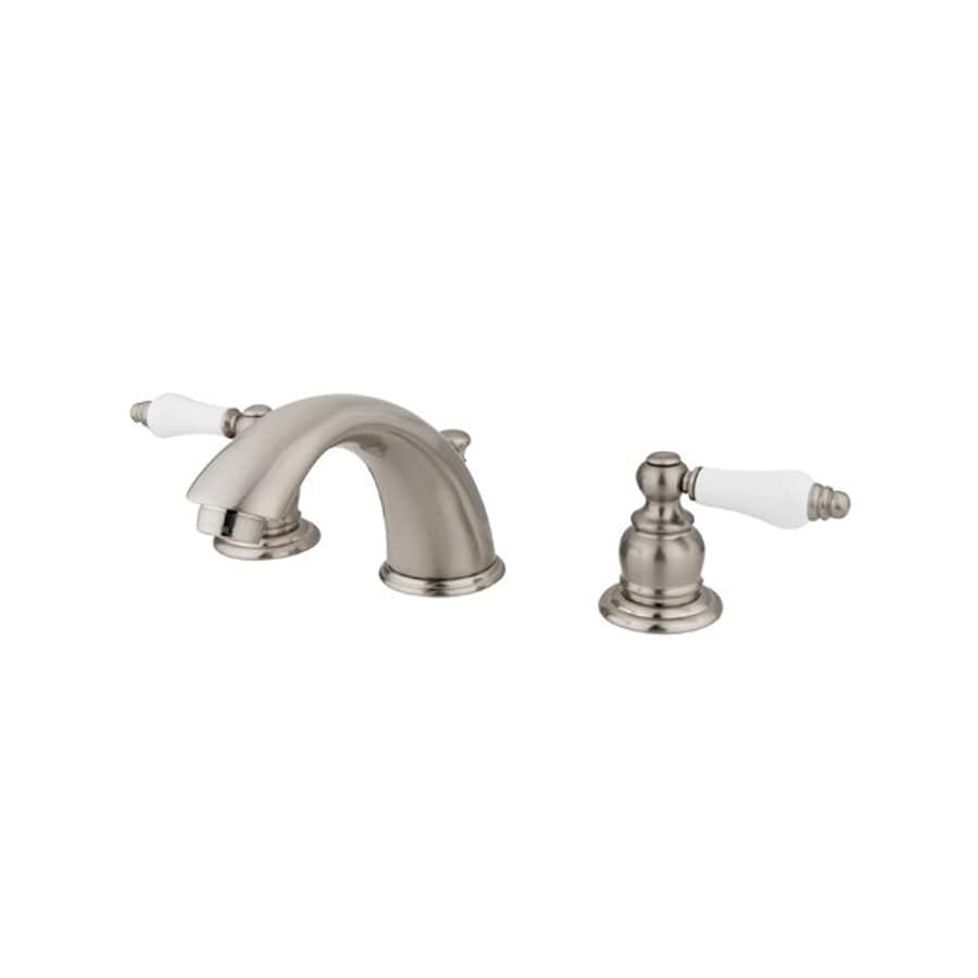 Elements of design satin nickel 2 handle widespread bathroom faucet drain included at for Satin nickel widespread bathroom faucet