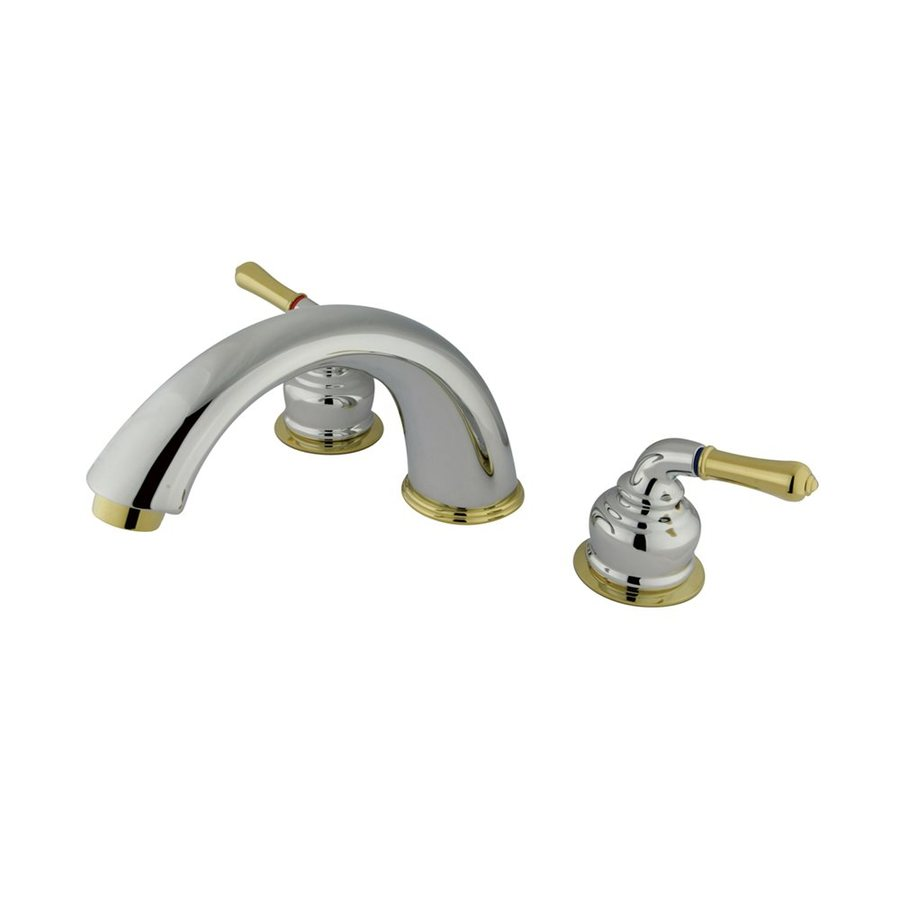 Elements of Design Magellan Chrome/Polished Brass 2-Handle Adjustable Deck Mount Bathtub Faucet