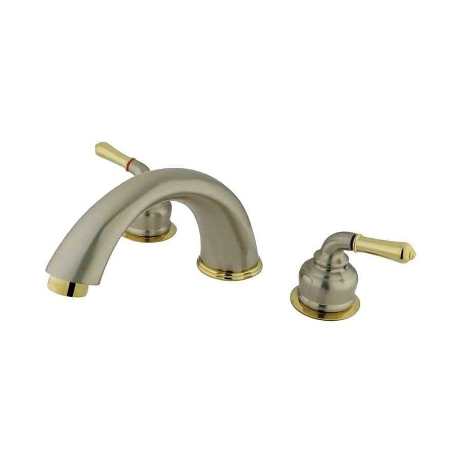 Elements of Design Magellan Polished Brass/Satin Nickel 2-Handle Adjustable Deck Mount Bathtub Faucet