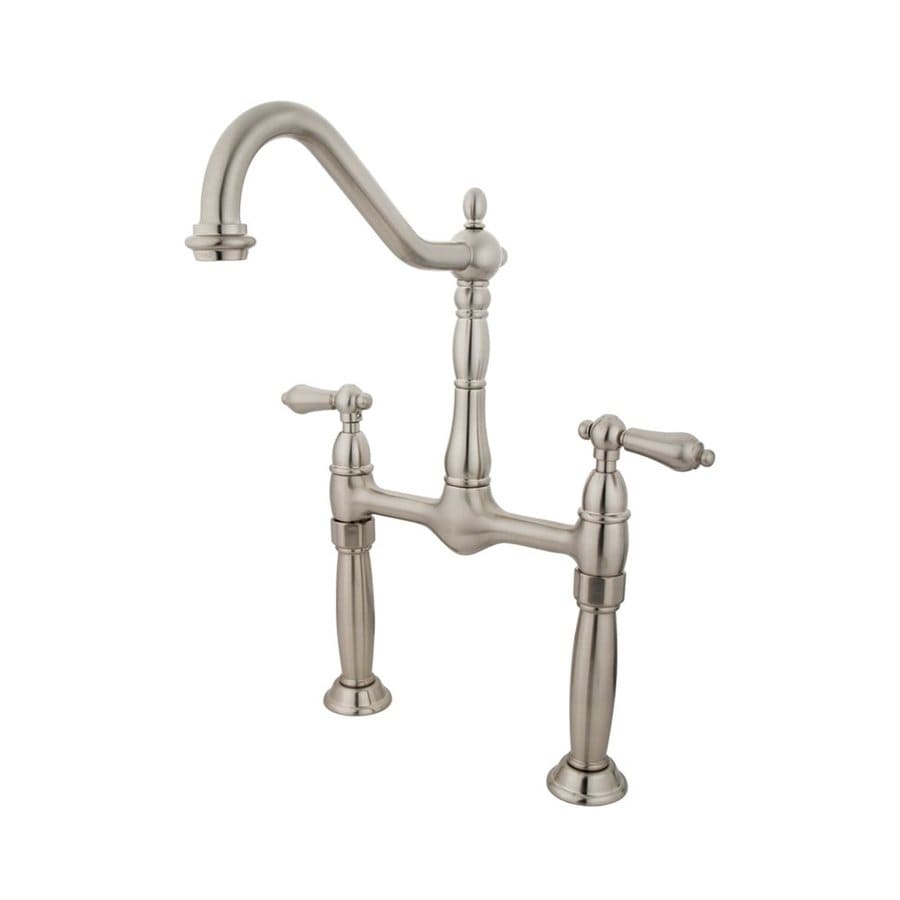 Shop elements of design victorian satin nickel 2 handle widespread bathroom sink faucet at for Victorian widespread bathroom faucet cross handles