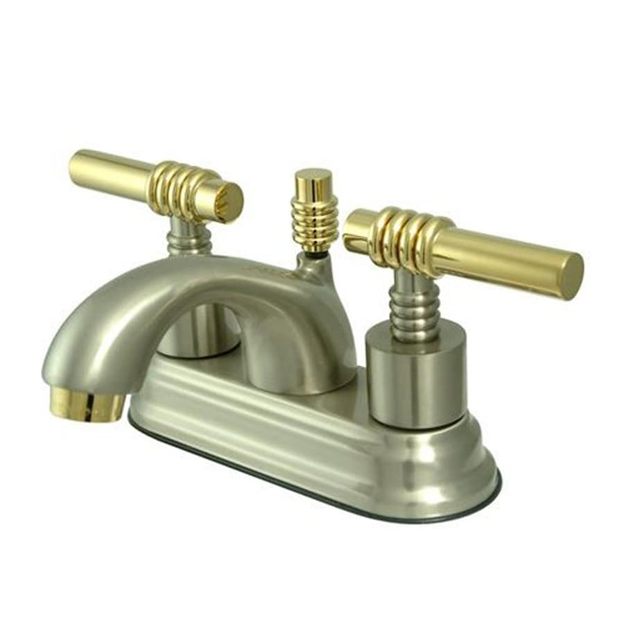 Shop Elements Of Design Satin Nickel Polished Brass 2 Handle 4 In Centerset Bathroom Faucet At