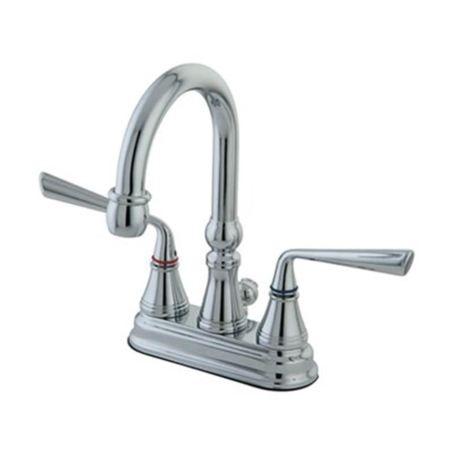 Elements of Design Silver Sage Polished Chrome 2-Handle 4-in Centerset Bathroom Faucet (Drain Included)
