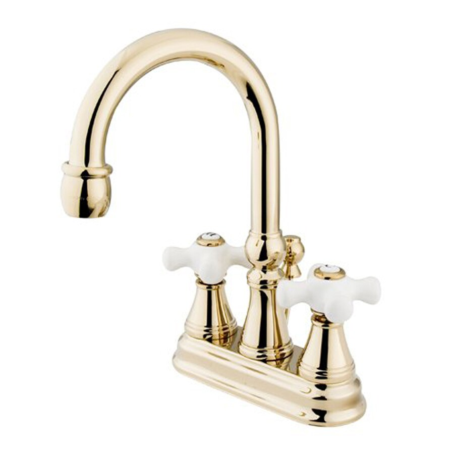 Shop Elements Of Design Polished Brass 2 Handle 4 In Centerset Bathroom Faucet Drain Included