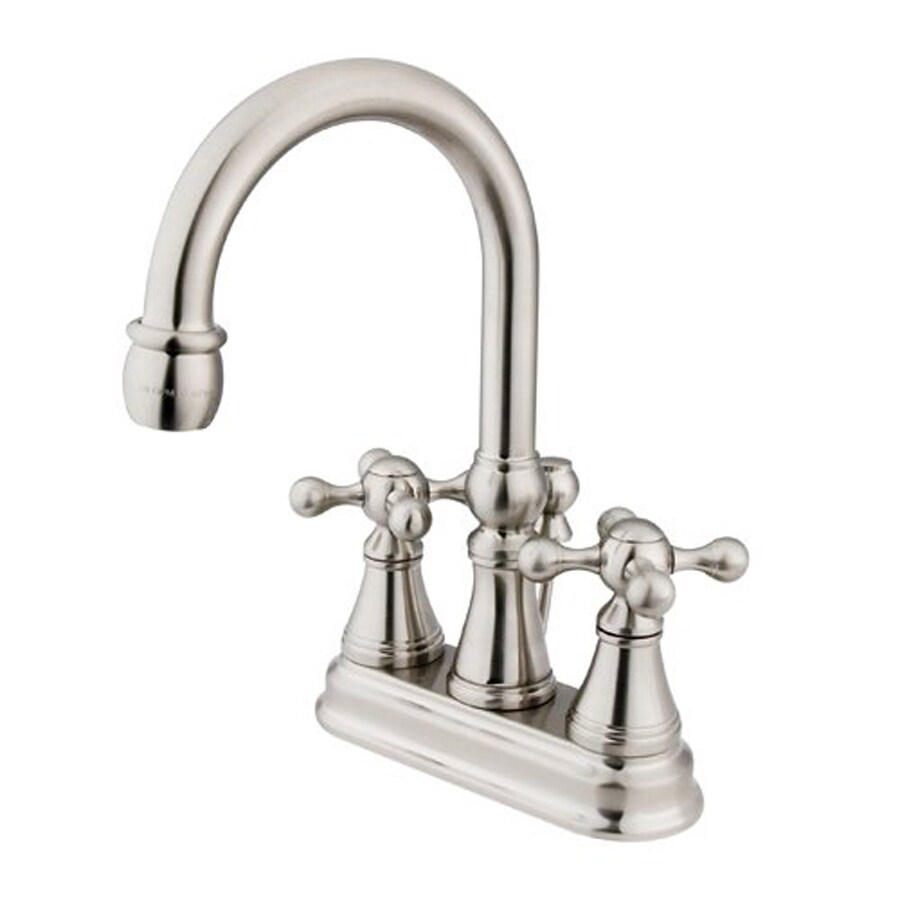 Elements of Design Satin Nickel 2-Handle 4-in Centerset Bathroom Faucet (Drain Included)