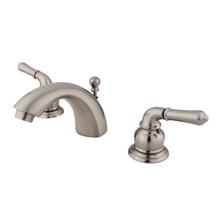 Elements of Design Satin Nickel 2-Handle 4-in Mini Widespread Bathroom Faucet (Drain Included)