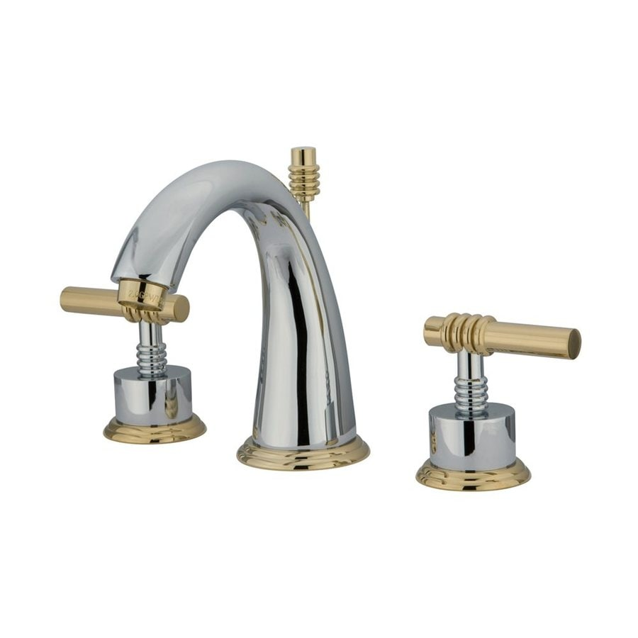 Elements of Design Chrome/Polished Brass 2-Handle Widespread Bathroom Faucet (Drain Included)