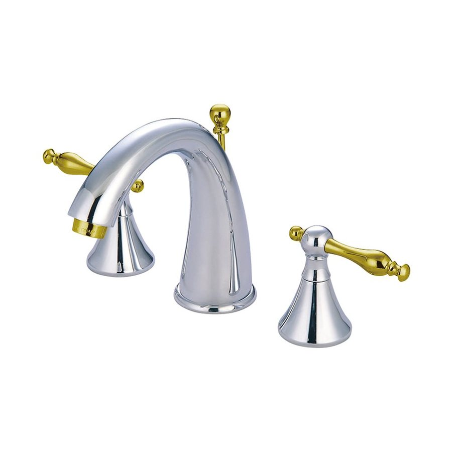 Shop Elements Of Design Chrome Polished Brass 2 Handle Widespread Bathroom Faucet Drain
